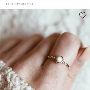 Pura Vida Boho Howlite Ring Gold and White Stone